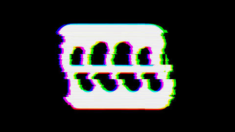 From the Glitch effect arises teeth symbol. Then the TV turns off. Alpha channel Premultiplied - Animation