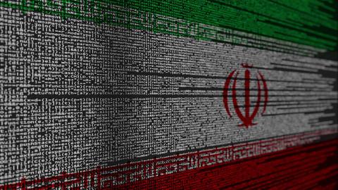 Program code and flag of Iran. Iranian digital technology or programming related Live Action