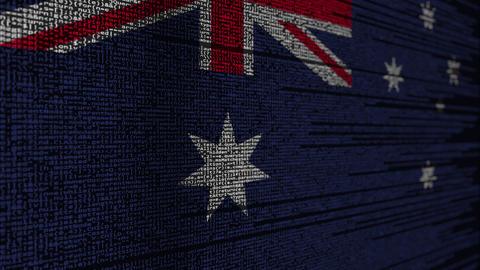 Program code and flag of Australia. Australian digital technology or programming Live Action