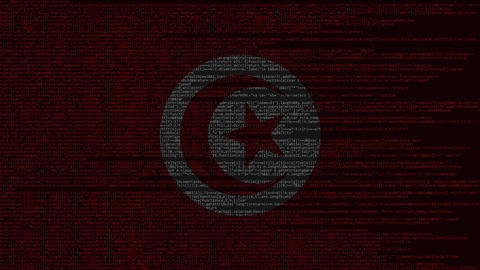Source code and flag of Tunisia. Tunisian digital technology or programming Live Action