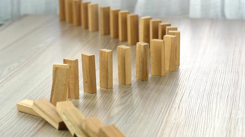 Slow Motion Domino Effect Strategy And Planning Footage