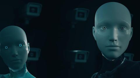 4K AI Artificial Intelligence Surveillance Multicamera System Animation