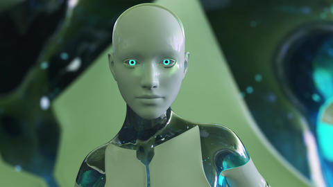 4K Color Changing Female Artificial Intelligence AI Android Animation