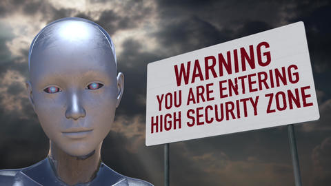 4K Android Artificial Intelligence High Security Zone Warning Animation