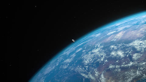 Asteroid approaching the planet Earth close view Stock Video Footage