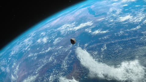 [alt video] Asteroid approaching the planet Earth close view