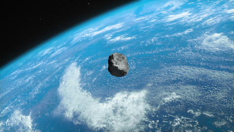 Asteroid approaching the planet Earth close view GIF