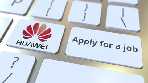 Computer keyboard with HUAWEI logo and Apply for a job text on the keys Footage
