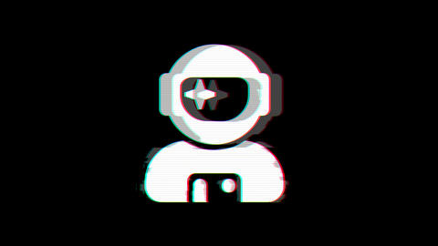 From the Glitch effect arises user astronaut symbol. Then the TV turns off. Alpha channel Animation