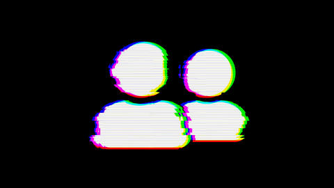 From the Glitch effect arises user friends symbol. Then the TV turns off. Alpha channel Animation