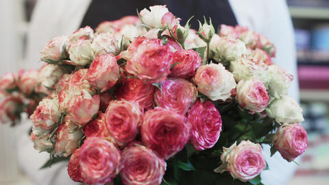 Beautiful flower bouquet with pink and white roses Live Action