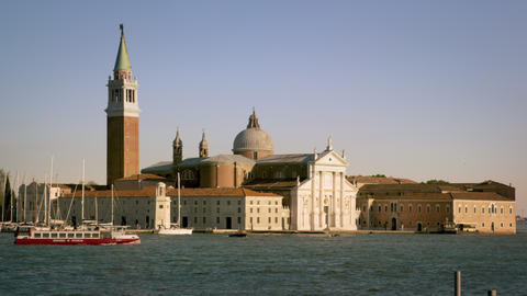 Static shot of the island of San Giorgio from across the canal Footage