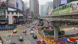 Monorail and busy traffic at Bukit Bintang,Kuala Lumpur,Malaysia Footage
