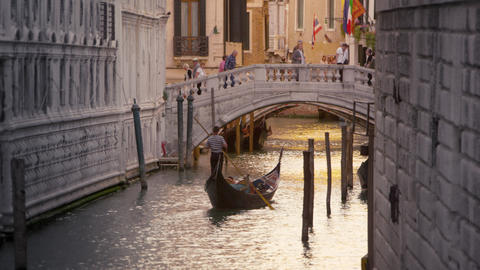 Gondola in the canal next to the Doge's Palace Footage