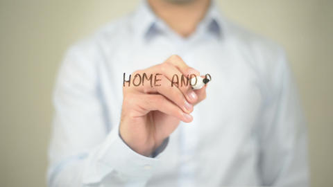 Home And Building Automation , Man Writing On Transparent Screen stock footage