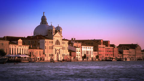 Beautiful, slow motion shot of the Bauer Palladio Hotel during the evening in Ve Footage