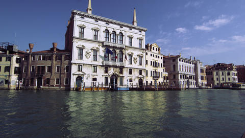 Buildings along the Grand Canal in Venice from boat Footage