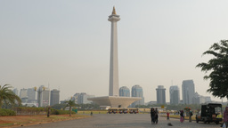 People Making Selfie With Monas Monument,Jakarta,Indonesia stock footage