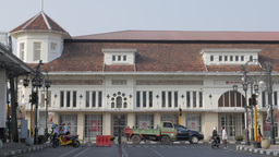 Dutch colonial building with traffic,Bandung,Indonesia Footage