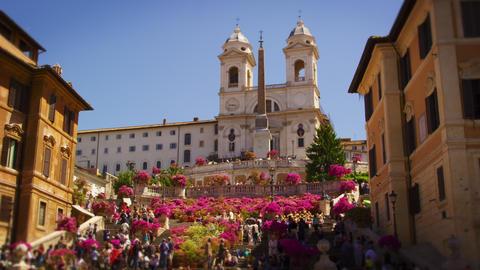 Slow motion still shot of crowds at Trinità dei Monti Footage