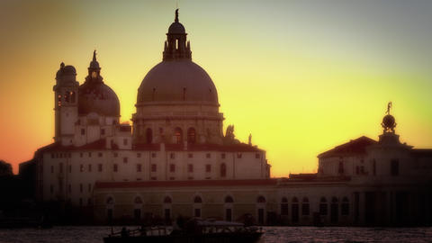 Santa Maria della Salute and crane across the Grand Canal Footage