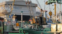 Crane In Kalimas Harbour Loading Cargo,Surabaya,Indonesia stock footage