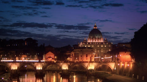 Tilt down footage of Ponte Sant'Angelo and dome of St. Peter's Basilica Footage