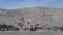 Tourists on horse to and from Bromo volcano,Bromo,Indonesia Footage