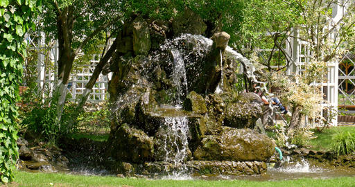 Water Flowing Through Rocky Fountain Footage