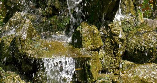 Waterfall Water Flowing Through Rocks Footage