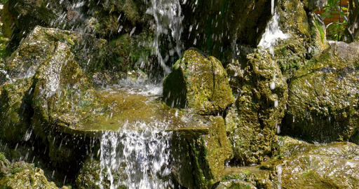 Waterfall Water Flowing Through Rocks Stock Video Footage