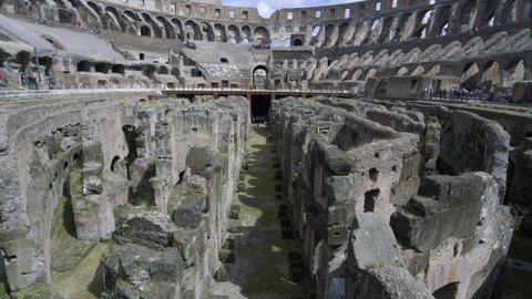 Still shot straight down the middle of the arena in the Colosseum with the stand Footage