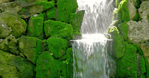 Waterfall Water Flowing Through Rocks, Live Action