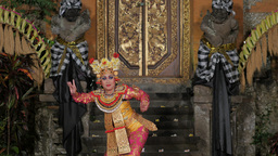 Traditional balinese legong dance by woman,Ubud,Indonesia Footage