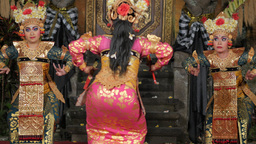Traditional balinese legong dance by women,Ubud,Indonesia Footage