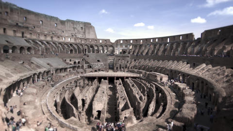 Panning shot of a sunny Roman Colosseum Footage