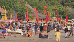 People Enjoying Sun And Restaurant On Beach,Kuta,Indonesia stock footage