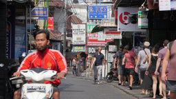 Busy Shopping Street ,Kuta,Indonesia stock footage