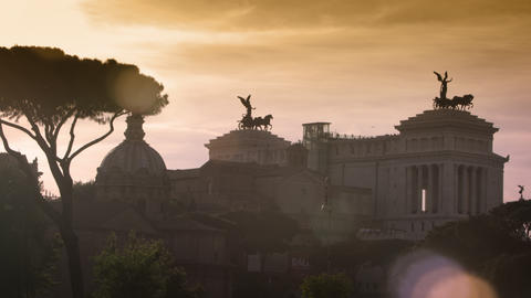 Night shot of the Vittorio Emanuele monument from Colosseum Footage
