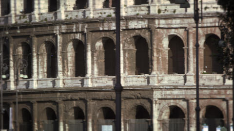Close up pan of the Roman Colosseum exterior Footage