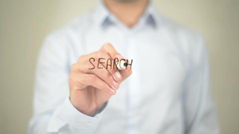 Search For Solution, Man Writing On Transparent Screen stock footage