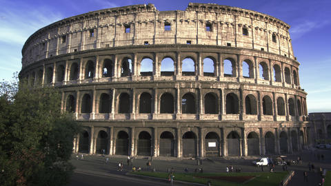 Slow motion shot of the north side of the Roman Colosseum Footage