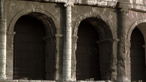 Close up upward tilt of Roman Colosseum Footage