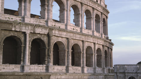 Downward tilt from tip of Colosseum to the Arch of Constantine Footage