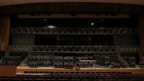 installation of LED screens on the stage Footage