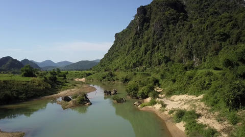 upper view tranquil river with sand and rocky islands Footage