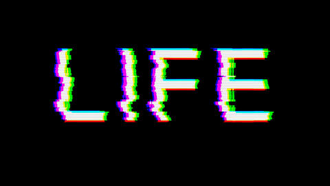 From the Glitch effect arises text LIFE. Then the TV... Stock Video Footage