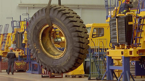 The wheel from the quarry truck moved to the Assembly shop Live Action