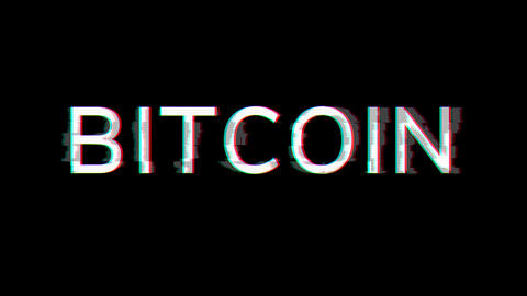 From the Glitch effect arises crypto currency name BITCOIN. Then the TV turns off. Alpha channel Animation