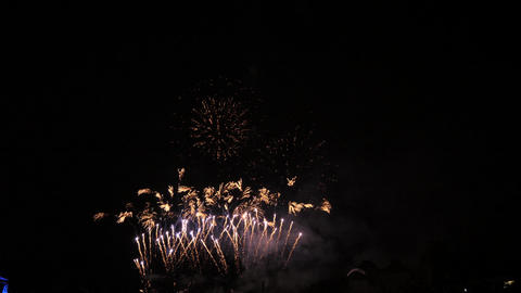 Slow motion white and red fireworks show Footage